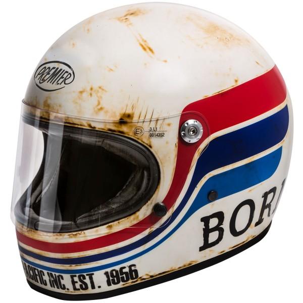 Premier Trophy Helm matt-weiß/rot-blau