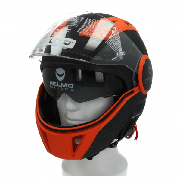Helmo Milano Full Jethelm, FuoriRotta Premium, schwarz, orange, matt