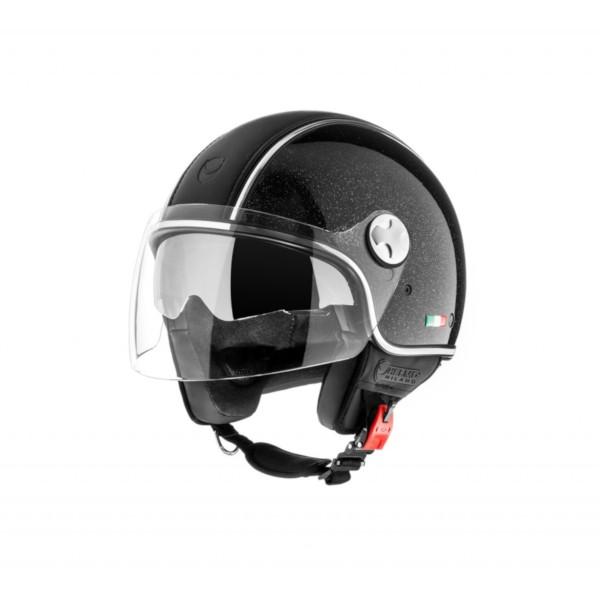 Helmo Milano Demi Jet, PelleDura Premium, schwarz glänzend, glitter