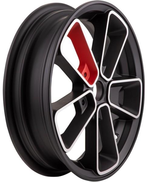 """Felge vorne/hinten 12"""" für Vespa GTS/GTS Super/GTV/GT 60/GT/GT L 125-300ccm, schwarz matt/rot"""