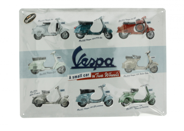 Vespa Metallschild Vespa model chart
