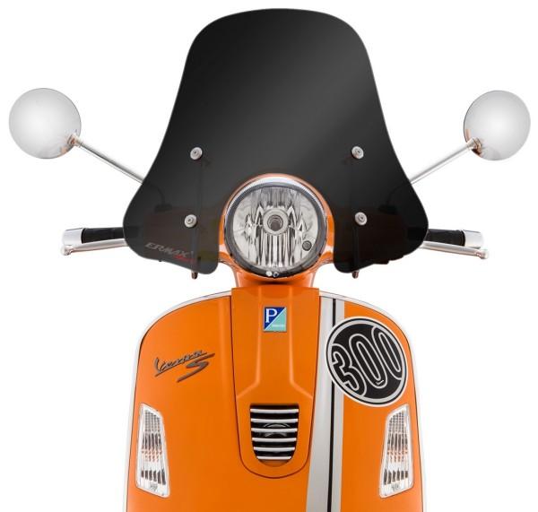 Windschild Sportivo für Vespa GTS/GTS Super/GT/GT L 125-300ccm, halbhoch, schwarz getönt