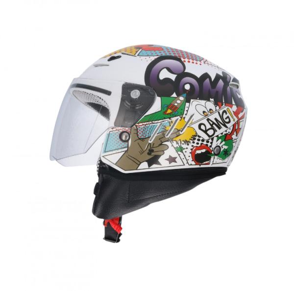 Shiro Kinderhelm, SH20, Comic, weiß, grün, rot