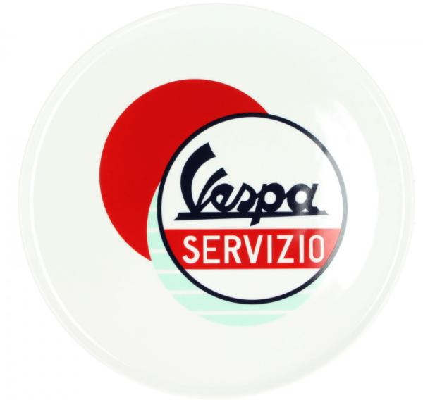 Vespa Teller Servizio weiß rot