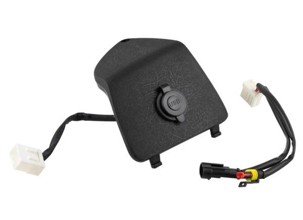 Gepäckfachblende links mit USB Anschluss für Vespa GTS/GTS Super/GTV/GT, schwarz