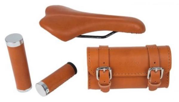 """Leder Set """"Style"""" Sattel/ Griffe/ Tasche für WI-BIKE Original Piaggio"""