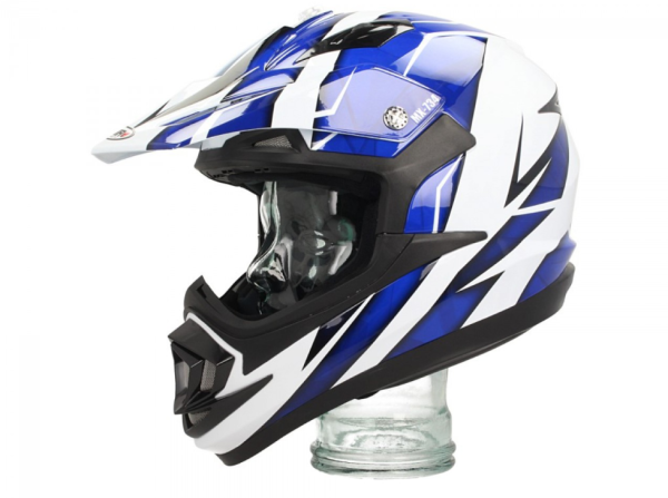 Shiro Off Road Helm, MX734, Troy, weiß, blau